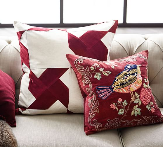 Bianca Bird Embellished Appliqué Decorative Pillow Cover Pottery Barn