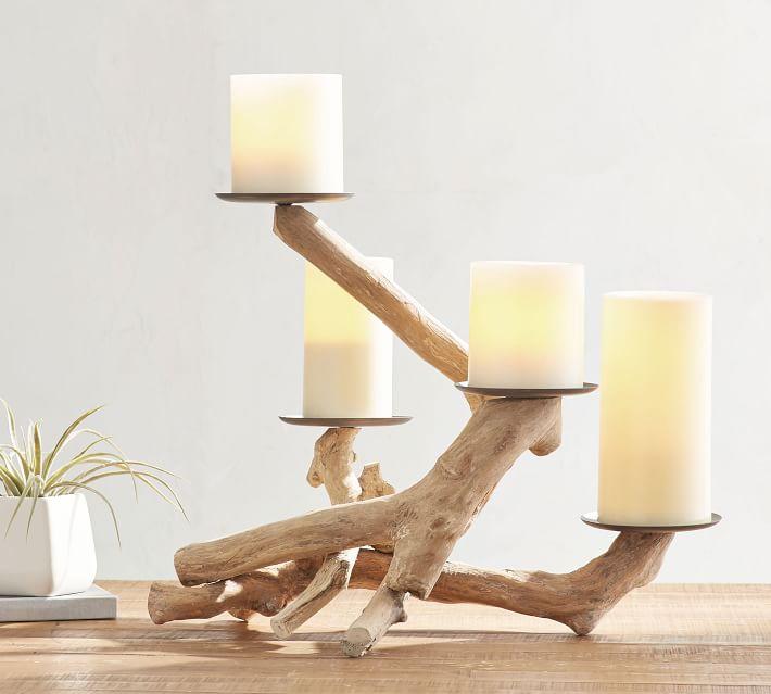 Handmade Driftwood Pillar Holder