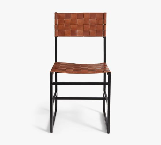 Hardy Woven Leather Dining Chair, Leather Dining Room Chairs