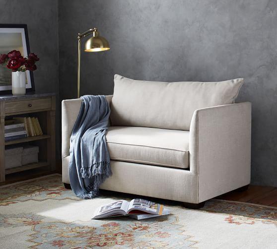 Luna Fabric Twin Sleeper Sofa With, Pottery Barn Sleeper Sofas
