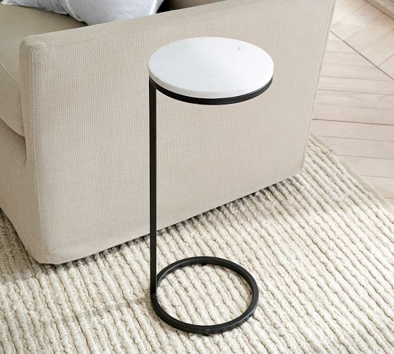Delaney 10 Round Marble C Table, Round C Table