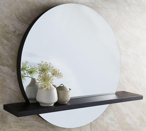 Rilen Round Mirror Shelf Pottery Barn, Round Mirror With A Shelf