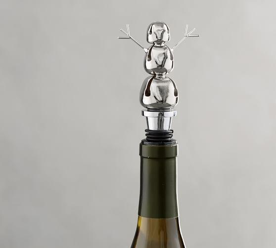 Jingle Bell Snowman Bottle Stopper Wine Accessories Pottery Barn