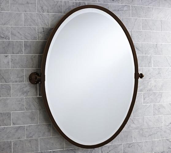 Kensington Pivot Oval Wall Mirror, Tilt Bathroom Mirror Oval