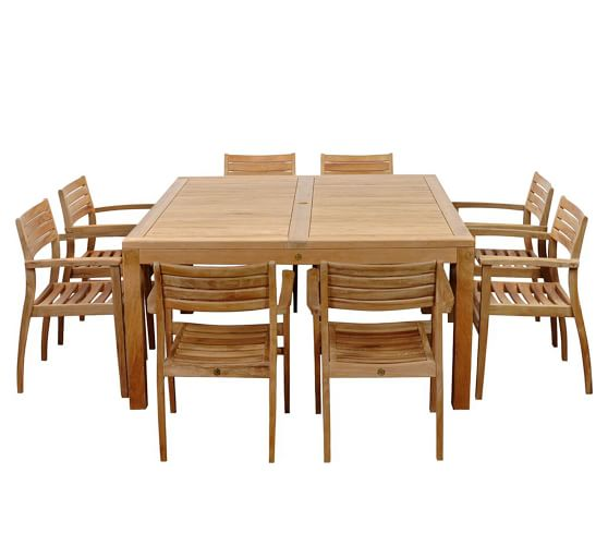 Saldano 9 Piece Teak Square Dining, 9 Piece Teak Outdoor Dining Set
