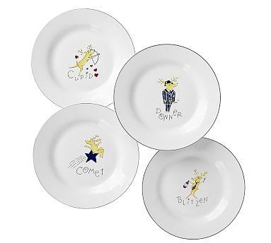 Pottery Barn Christmas Reindeer Dessert Plates Comet Cupid Donner Blitzen Set 4