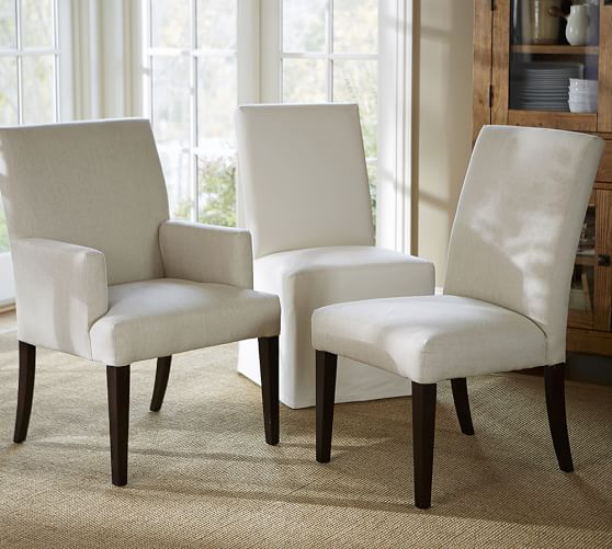 Pb Comfort Square Upholstered Dining, Upholstered Dining Room Chairs With Arms