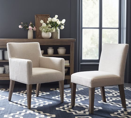 Classic Upholstered Dining Armchair, Upholstered Dining Room Chairs With Arms