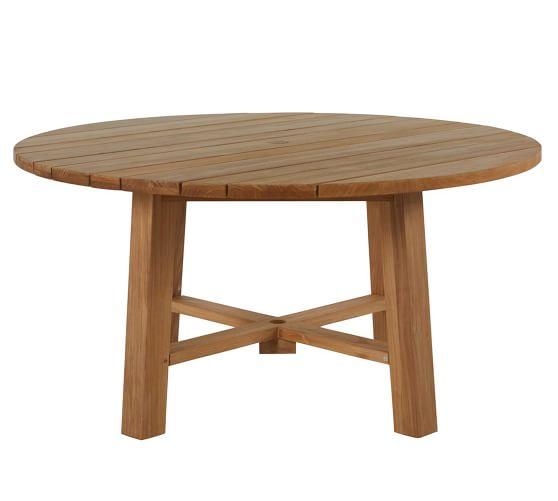 Vona 60 Teak Round Dining Table, Round Teak Outdoor Table