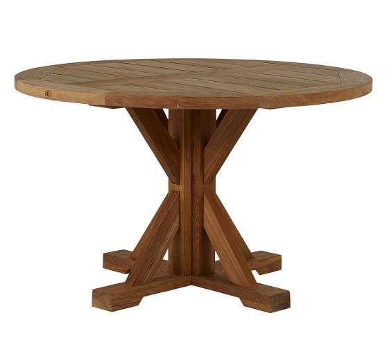 Karena 48 Teak Round Dining Table, 48 Round Pedestal Table With Leaf