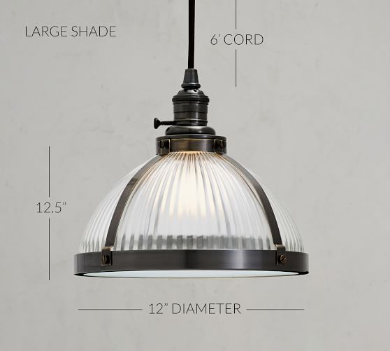 industrial ribbed glass cord pendant