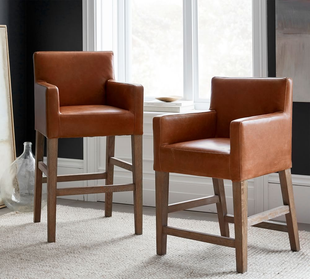 PB Classic Upholstered Leather Bar Stool   Pottery Barn