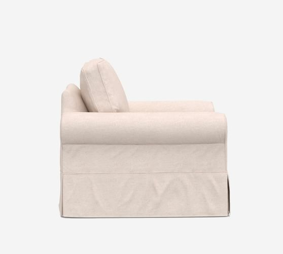 Pottery Barn Comfort roll armchair  dining Natural Twill Cream Long Slipcover