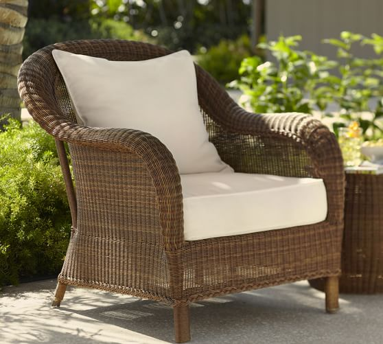 All Weather Wicker Lounge Chair Honey, Pottery Barn Outdoor Furniture Showroom