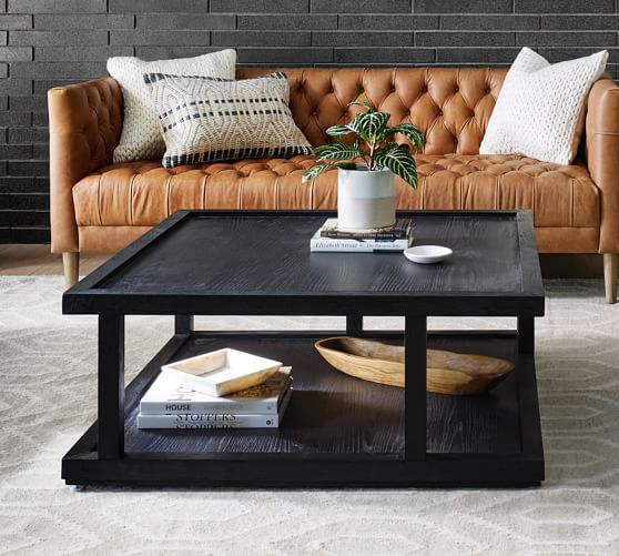 Modern 40 Square Coffee Table, Square Living Room Table