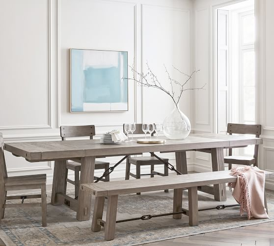 Benchwright Extending Dining Table, Gray Rustic Dining Room Set