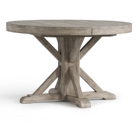 Benchwright Round Pedestal Extending, Round Gray Dining Table