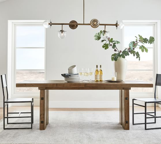 North Reclaimed Wood Extending Dining, Weathered Wood Dining Room Sets