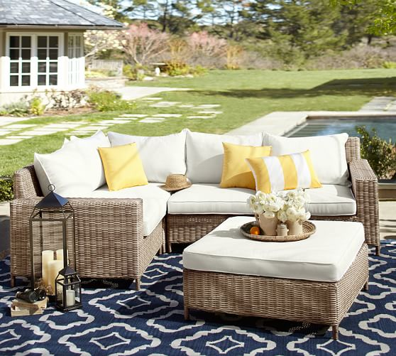 Torrey All Weather Wicker Square Arm, Pottery Barn Rattan Furniture