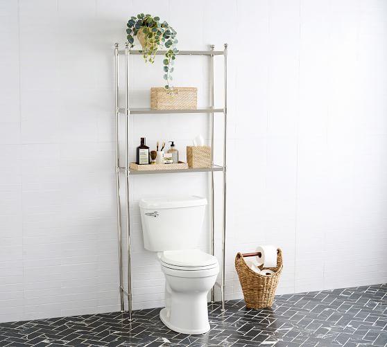 Metal Over The Toilet Storage Pottery, Bathroom Organizer Over Toilet