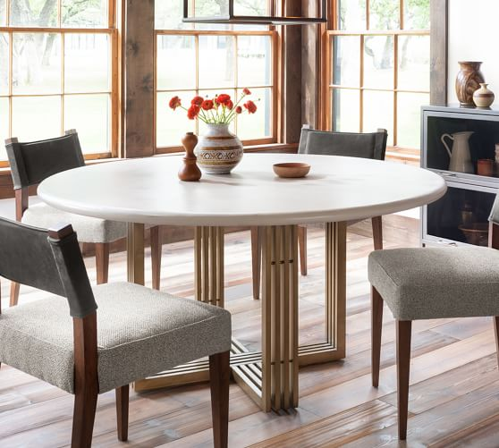 Kilmer Round Pedestal Dining Table, Pottery Barn Tables Round