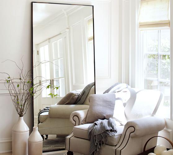 Berke Oversized Iron Frame Floor Mirror, Oversized White Leaner Mirror