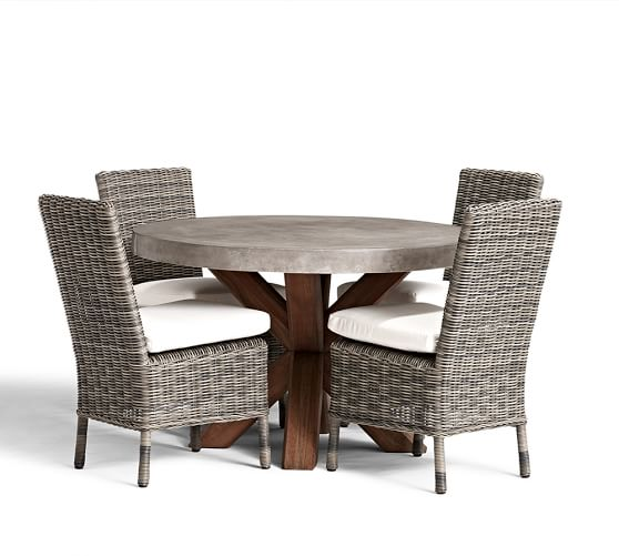 Perfect Pair Abbott Concrete Fsc Acacia Round Dining Table Huntington All Weather Wicke Pottery Barn