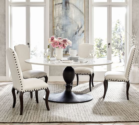 Chapman Oval Marble Pedestal Dining, Oval Dining Room Set