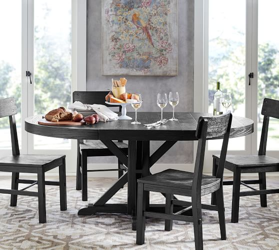 Benchwright Round Pedestal Extending, Pedestal Dining Room Tables And Chairs