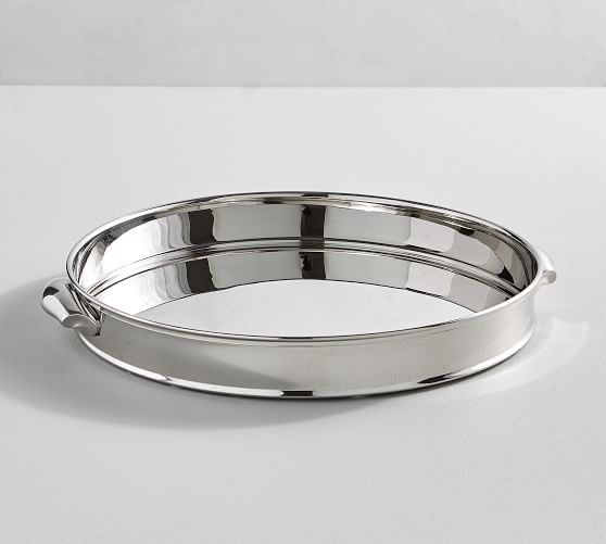 Harrison Round Serving Tray Pottery Barn, Round Stainless Steel Tray
