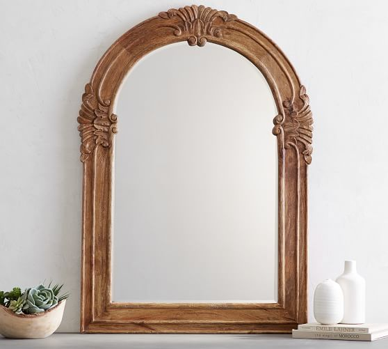 Mendosa Arch Wood Wall Mirror Pottery, Carved Wood Mirror Pottery Barn