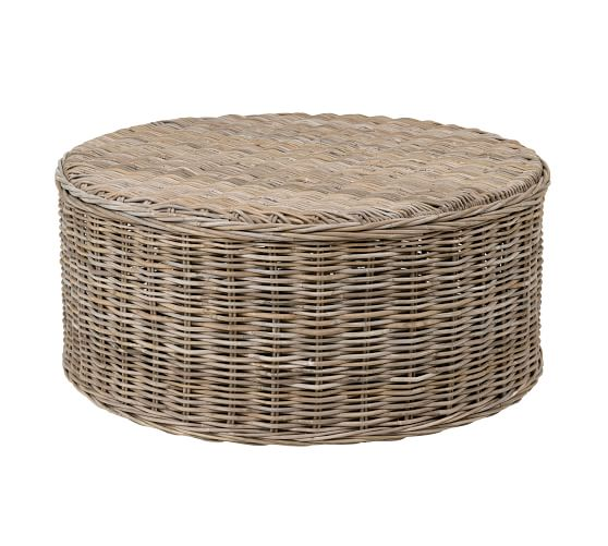 Rattan 39 Round Coffee Table Pottery, Rattan Coffee Table Round