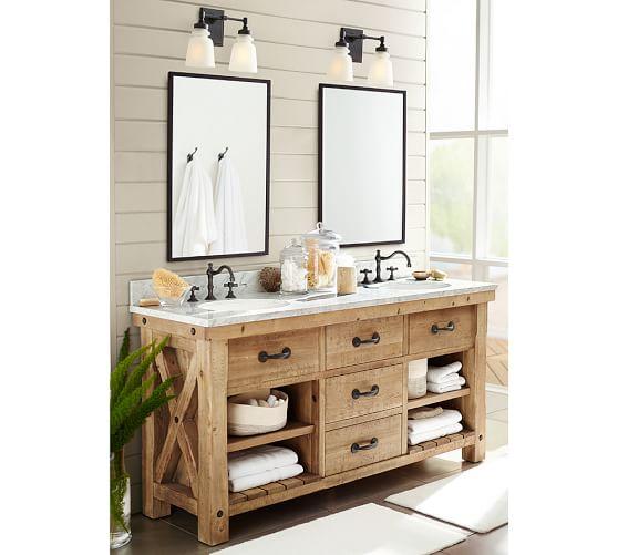 Benchwright 72 Double Sink Vanity, Pottery Barn Bathroom Vanity Lights