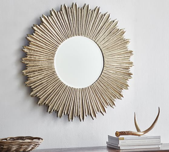 Soleil Wall Mirror Pottery Barn, Carved Wood Mirror Pottery Barn