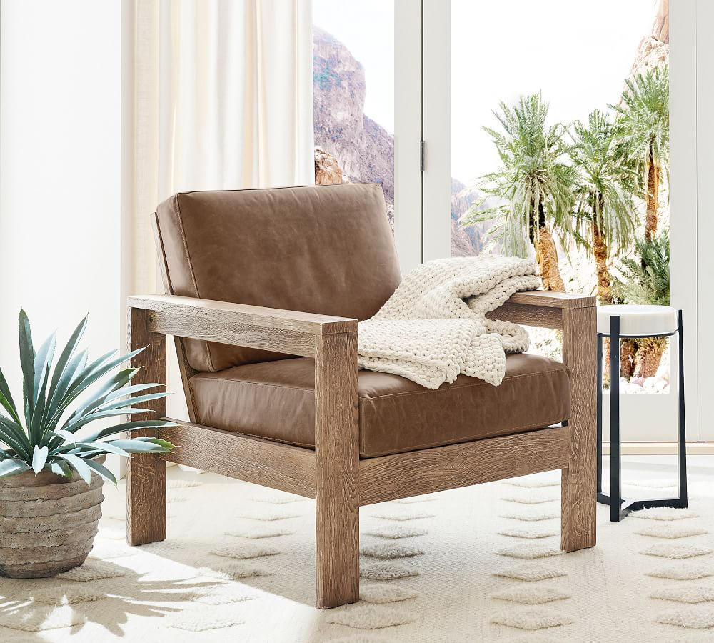 Malibu Leather Accent Chair Pottery Barn, Leather Living Room Chair