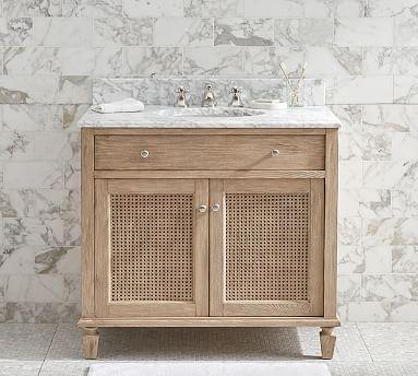 Sausalito 36 Single Sink Vanity, White Wicker Bathroom Cabinet