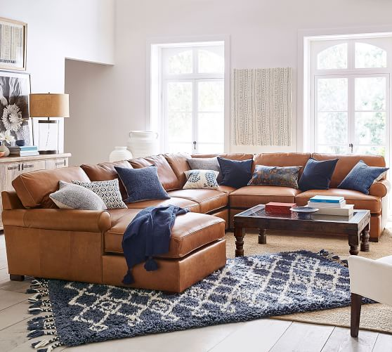 Townsend Roll Arm Leather 4 Piece, Living Room Leather Couch