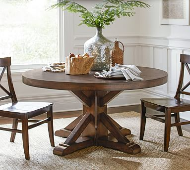Benchwright Round Pedestal Dining Table, Pottery Barn Tables Round