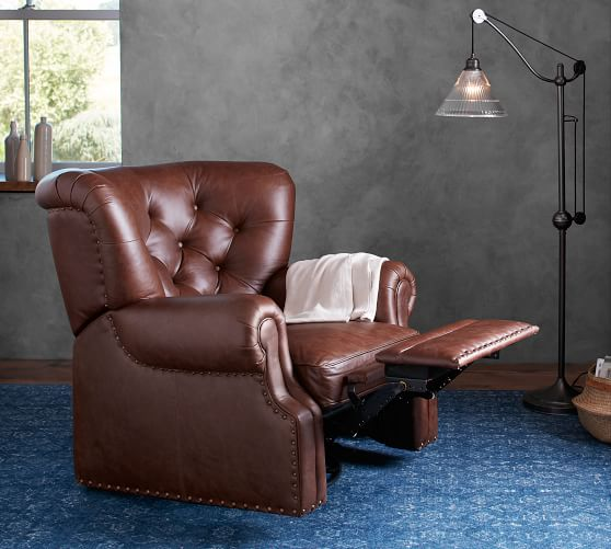 Lansing Leather Swivel Recliner Chair, Club Chair Recliner Swivel
