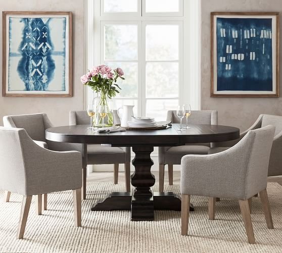 Banks Round Pedestal Extending Dining, 60 Round Pedestal Dining Table With Leaf