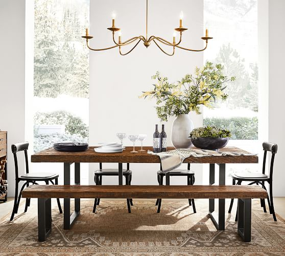 Griffin Reclaimed Wood Dining Table, Wood Dining Room Table Chairs