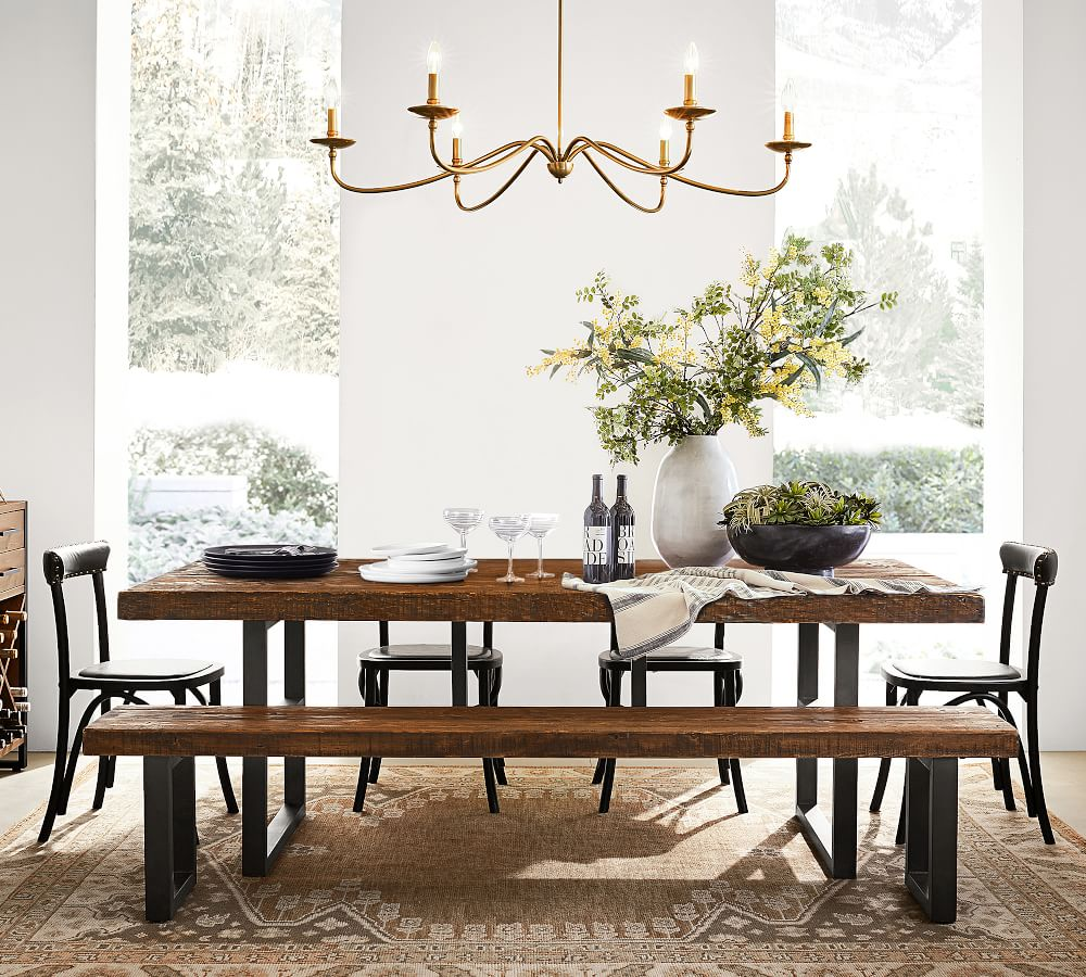 Griffin Reclaimed Wood Dining Table, Weathered Wood Dining Room Sets