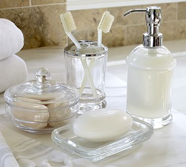 Classic Handcrafted Glass Bathroom, Glass Bathroom Accessories Sets