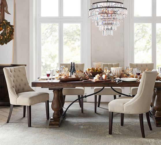 Hayes Tufted Upholstered Dining Chair, Upholstered Living Room Chairs With Arms