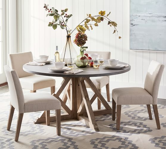 Brooks Round Pedestal Dining Table, Circle Dining Room Table