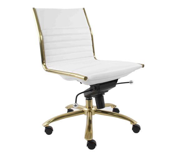 Fowler Armless Swivel Desk Chair, Armless Office Chair