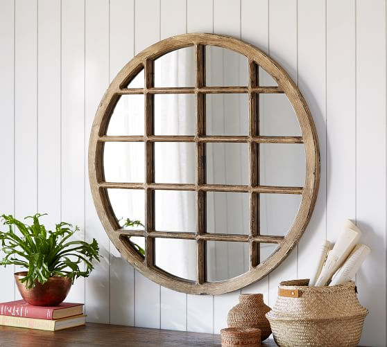 Porto Round Wood Wall Mirror Pottery Barn, Carved Wood Mirror Pottery Barn