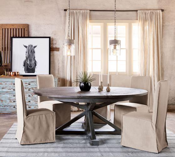 Hart Round Reclaimed Wood Pedestal, Round Pedestal Extending Dining Table