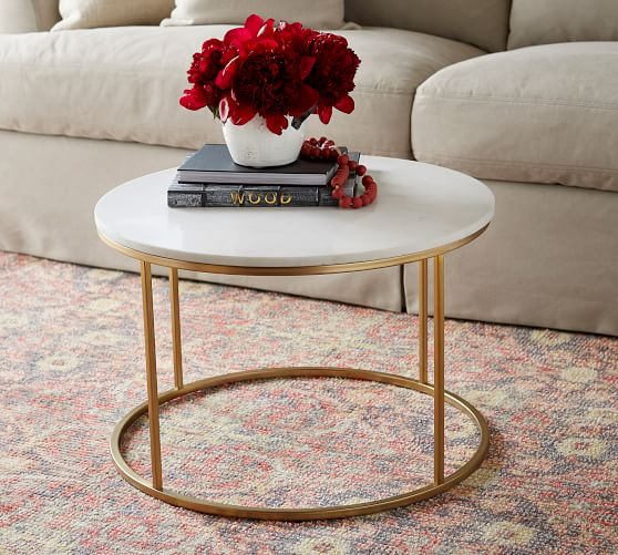 Delaney 25 Round Marble Coffee Table, Small Round Coffee Tables