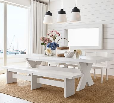 Modern Farmhouse Extending Dining Table, White Dining Room Table Bench